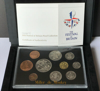 George VI 1951 FESTIVAL OF BRITAIN Proof Coin Set Royal Mint Case, Booklet & COA
