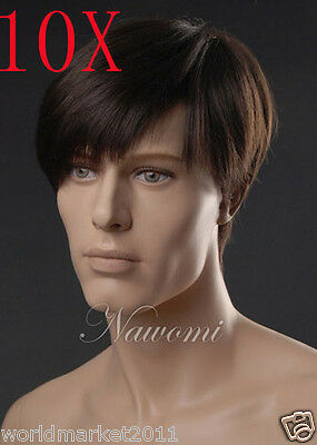10X Personality Inclined Fringe Kanekalon Dark Brown Short Straight Men Wig