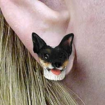 Rat Terrier Tiny One Dog Head Post Earrings Jewelry
