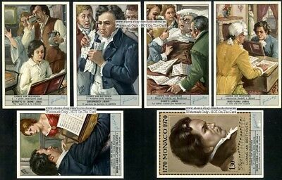 Set of 6 Life of Beethoven Piano Music Artist Musician  c40 Y/O Trade Ad Cards