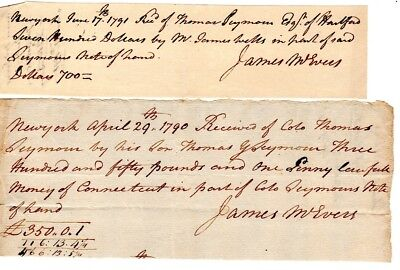 1790, New York, James McEvers, Stamp Act agent, pair of pay receipts siged