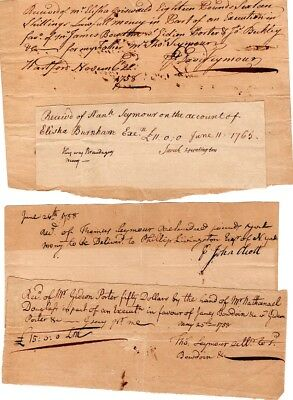 1750s, Hartford, CT. document group to and from Colonel Thomas Seymour, signed