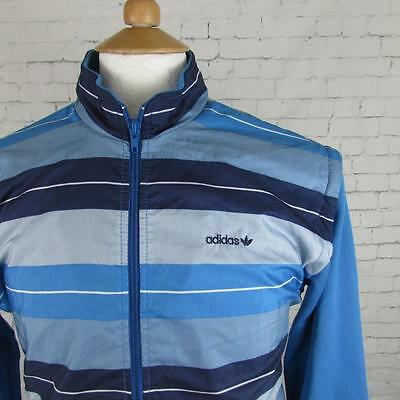 80s VINTAGE ADIDAS TRACKSUIT TOP JACKET RETRO OLD SKOOL TERRACE CASUALS SMALL