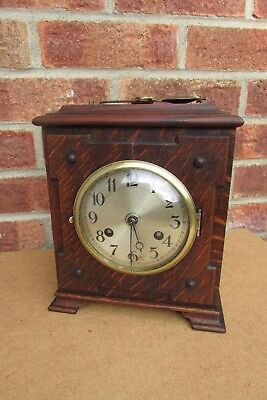 German Oak Arts and Crafts Style 8 Day Striking Mantle Clock