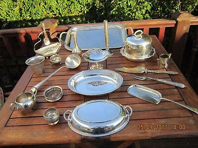 Vintage Retro Job Lot Assorted Silver Plated Dishes Bowls & More