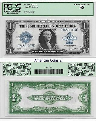 1923 $1 Blue Seal  FR 238 PCGS 58 Choice About New #2021