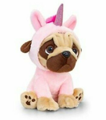 New PUGSLEY PUG Dog Dressed SOFT PINK UNICORN 14cm soft beanie Keel Toy plush