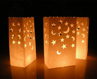 10 x STAR & MOON Design Luminary Candle Lantern Paper Bags Party Wedding BBQ