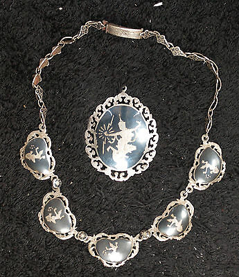 Matching Sterling Silver Brooch and Necklace - Asian Design
