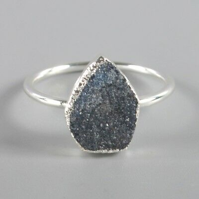 Size 8 Blue Agate Druzy Geode Ring Silver Plated T045429