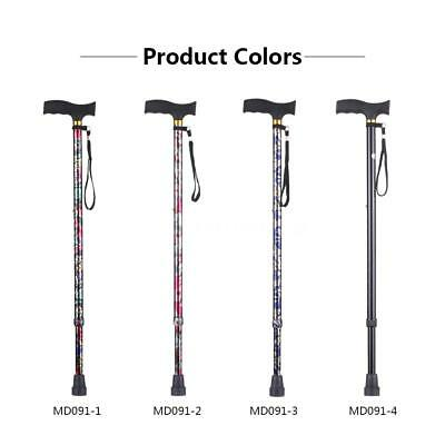 Adjustable Handle Folding Cane Walking Stick Lightweight Handle Anti-Slide U0A4
