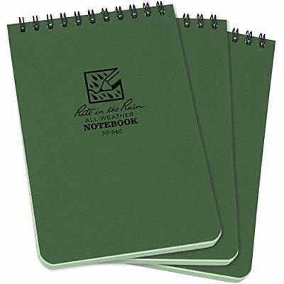 "Rite in the Rain All-Weather Top-Spiral Notebook, 4"" x 6"", Green Cover,"