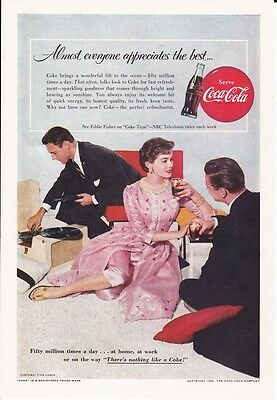 """Coca Cola 1955 7"""" x 10"""" ad Youngsters with turn table (Nat Geographic Magazine)"""