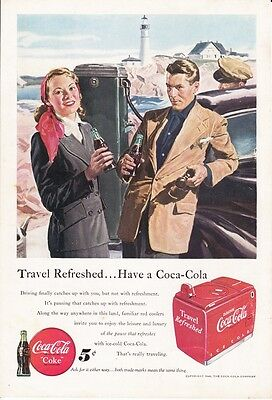"""Coca Cola 1949 7"""" x 10"""" ad Coke at the gas station (Nat Geographic Magazine)"""