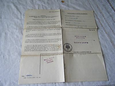 Vintage Army Form  D.406 (Ro), Br Pitt, Hastings, 1952
