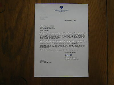 """William  """"BILL""""  McHENRY Signed 1988 Letter (Washington & Lee Athletic Director)"""
