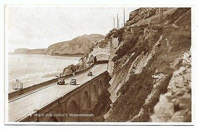 [5166] Carmarthenshire Photo Brown Postcard Pen-Y-Clip Viaduct Penmaenmawr