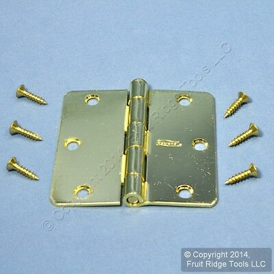 """New Bright Brass Finished Steel 3-1/2"""" Removable Pin Cabinet Butt Hinge N190-231"""