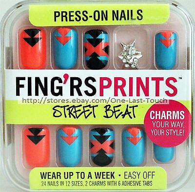 FING'RS PRINTS* 24 Press-On Nails WRAP STAR Aztec+Star Charms STREET BEAT New!