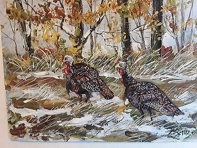 Two Toms  5x7 wildlife turkey art original print  Jim Smeltz w/ ACEO