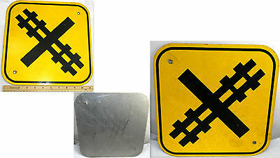 Yellow Heavy Metal Road Sign Safety Traffic Warning Train Railway Crossing