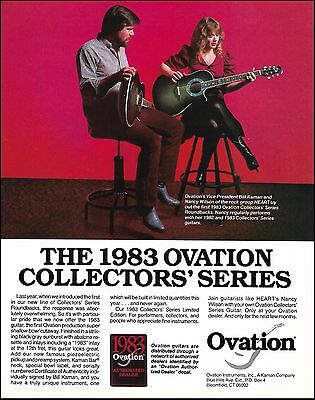 Heart Nancy Wilson & Bill Kaman 1983 Ovation Collectors Series Guitar 8 x 11 ad