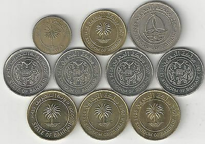 10 DIFFERENT COINS from BAHRAIN (6 TYPES)