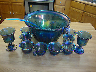 Vintage Indiana Blue Iridescent Carnival Punch Bowl 12 Cups With Grape Pattern
