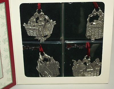 1997 Longaberger Pewter Baskets Ornaments set of 4    Fourth in Collection MIB
