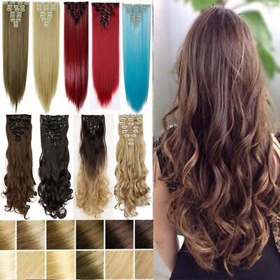Popular Thick Full Head Clip in Hair Extensions Brown Red Blue for Human AY7
