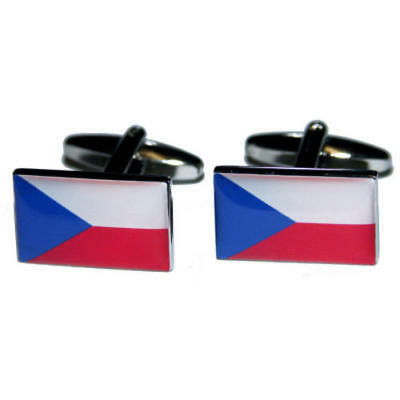 White, Blue & Red Czech Republic Flag Cufflinks With Gift Pouch Country Flags