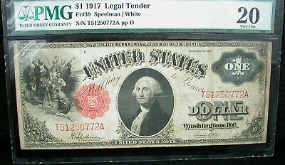 $1 1917 Legal Tender Pmg Vf 20 Fr#39 Speelman/white 1917 One Dollar Us Note