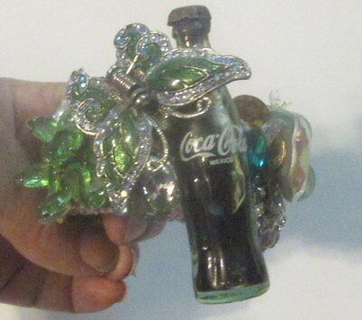 Wendy Gell wristy  cuff Coca Cola with a Butterfly and Swarovski Jewels Pop Art