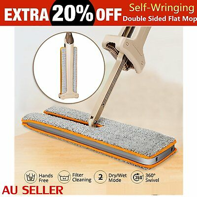 New Arrivals Self-Wringing Double Sided Flat Mop Telescopic Comfortable Han AU