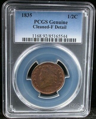 1835 1/2C PCGS GENUINE F DETAIL 1835 CLASSIC HEAD HALF CENT 1/2c