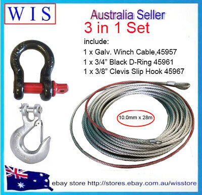 """3/PK Steel Wire Winch Rope Cable 10mm x 28m w 3/4"""" D-Ring &3/8"""" Clevis Slip Hook"""