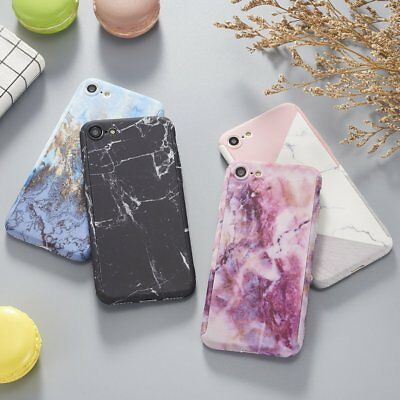 Hybrid 360°Shockproof Marble Soft TPU Case+Tempered Glass Cover For iPhone 6S 7