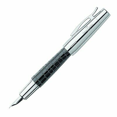Faber-Castell E-Motion Fountain Pen Resin Croco Black Medium Point 148230 New