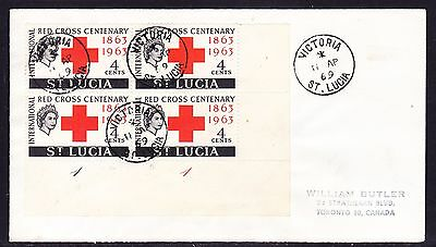 St Lucia 1969 Red Cross Block 4  Cover addressed to Canada