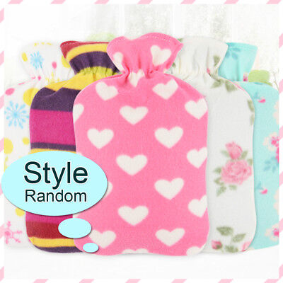 Portable Hot Water Bag Hand Warmer Bottle Flannel Washable Anti-scal Cover Top