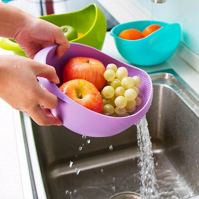 Plastic Vegetable Fruit Rice Wash Colander Basket Strainer Sieve Kitchen Tool #g