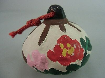 DR171 Japanese Clay Bell Pottery Paper lantern Temple Flower Hand made Vtg Dorei