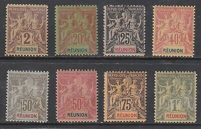 REUNION 1892 FOURNIER FORGERIES, 8 values, Mint Never Hinged