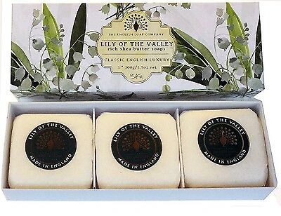English Soap Company 3 x 100g Hand Soaps Lily of the Valley Shea Butter Gift Box