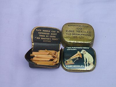 "Old Blue ""His Master's Voice"" Fibre Gramophone Needle Tin + Contents c 1930s"