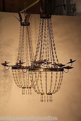 BIG pair antique ITALIAN ornate chandeliers original crystal bronze lights 130cm
