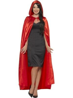 Ladies Halloween Hooded Fancy Dress Cape Red Satin Look Cloak Riding by Smiffys