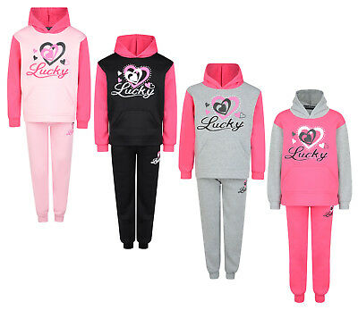 Kids Tracksuit Girls Jog Set Lucky Hearts Hooded Top & Joggers Bnwt