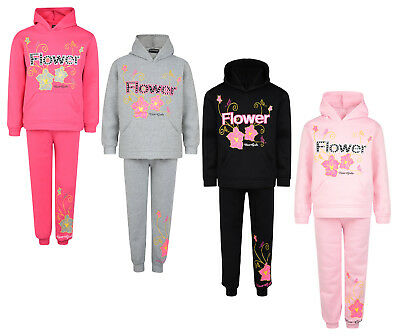 Kids Tracksuit Girls Jog Set Flower Nice Girls Hooded Top & Joggers Bnwt