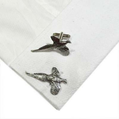 Silver Pewter Flying Pheasant Cufflinks Handmade in England Cuff Links Bird New